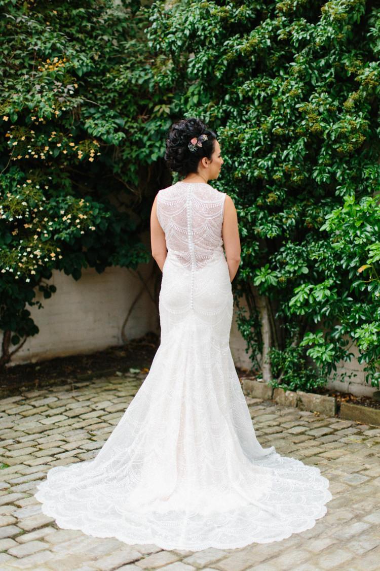Lace Beaded Gown Back Buttons Bride Bridal Illusion Sheer Train Fun Joyful Pink Blue Summer Healey Barn Wedding Northumberland http://www.melissabeattie.com/