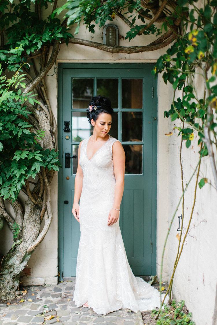 Lace Beaded Gown Back Buttons Bride Bridal Illusion Sheer Fishtail Fun Joyful Pink Blue Summer Healey Barn Wedding Northumberland http://www.melissabeattie.com/