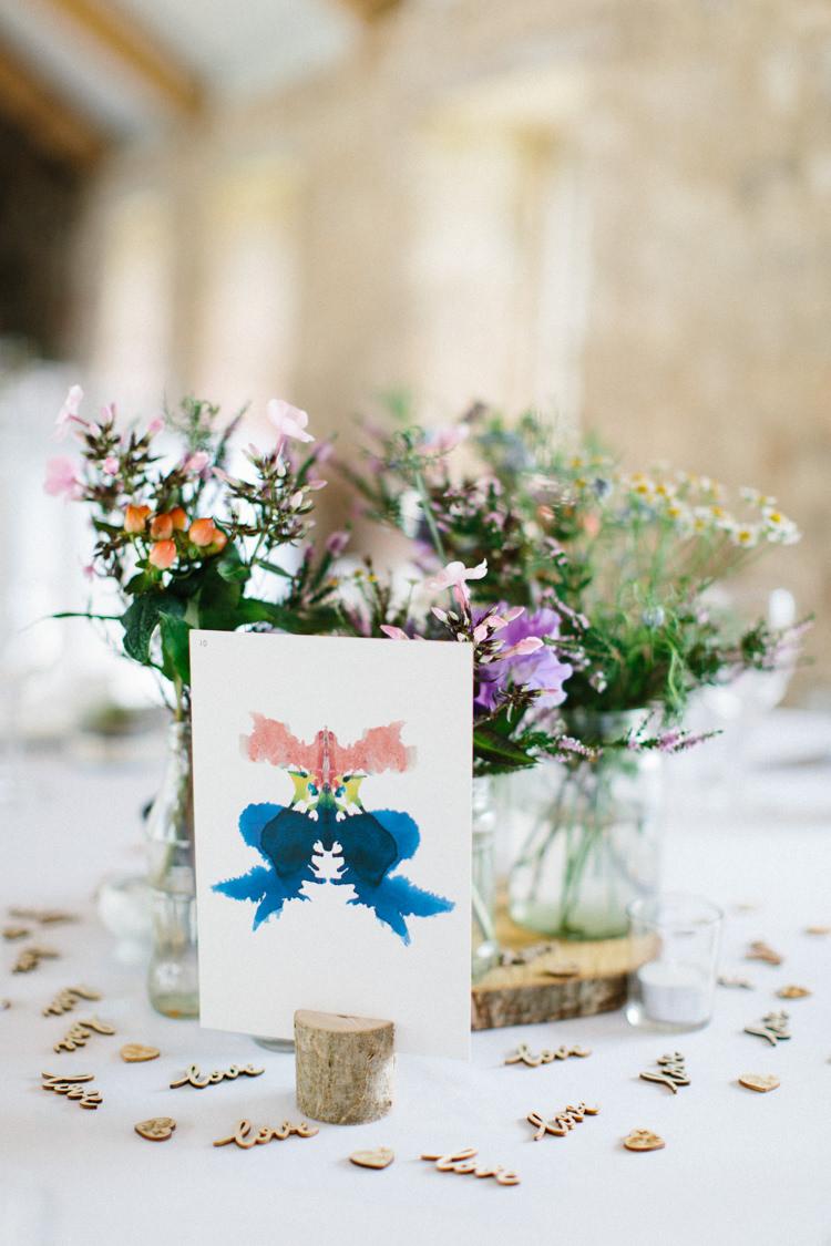 Centrepiece Flowers Log Slice Jars Table Confetti Table Name Watercolour Fun Joyful Pink Blue Summer Healey Barn Wedding Northumberland http://www.melissabeattie.com/