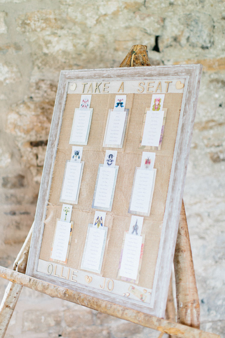 Hessian Burlap Frame Seating Plan Table Chart Fun Joyful Pink Blue Summer Healey Barn Wedding Northumberland http://www.melissabeattie.com/