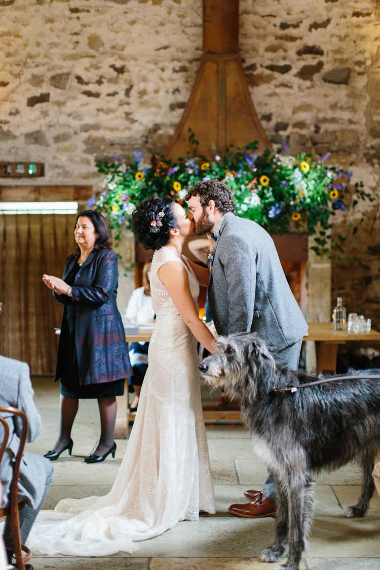 Dog Pet Ring Bearer Fun Joyful Pink Blue Summer Healey Barn Wedding Northumberland http://www.melissabeattie.com/