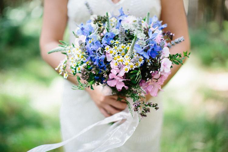 Bouquet Flowers Bride Bridal Lavender Daisy Sweet Pea Ribbons Fun Joyful Pink Blue Summer Healey Barn Wedding Northumberland http://www.melissabeattie.com/
