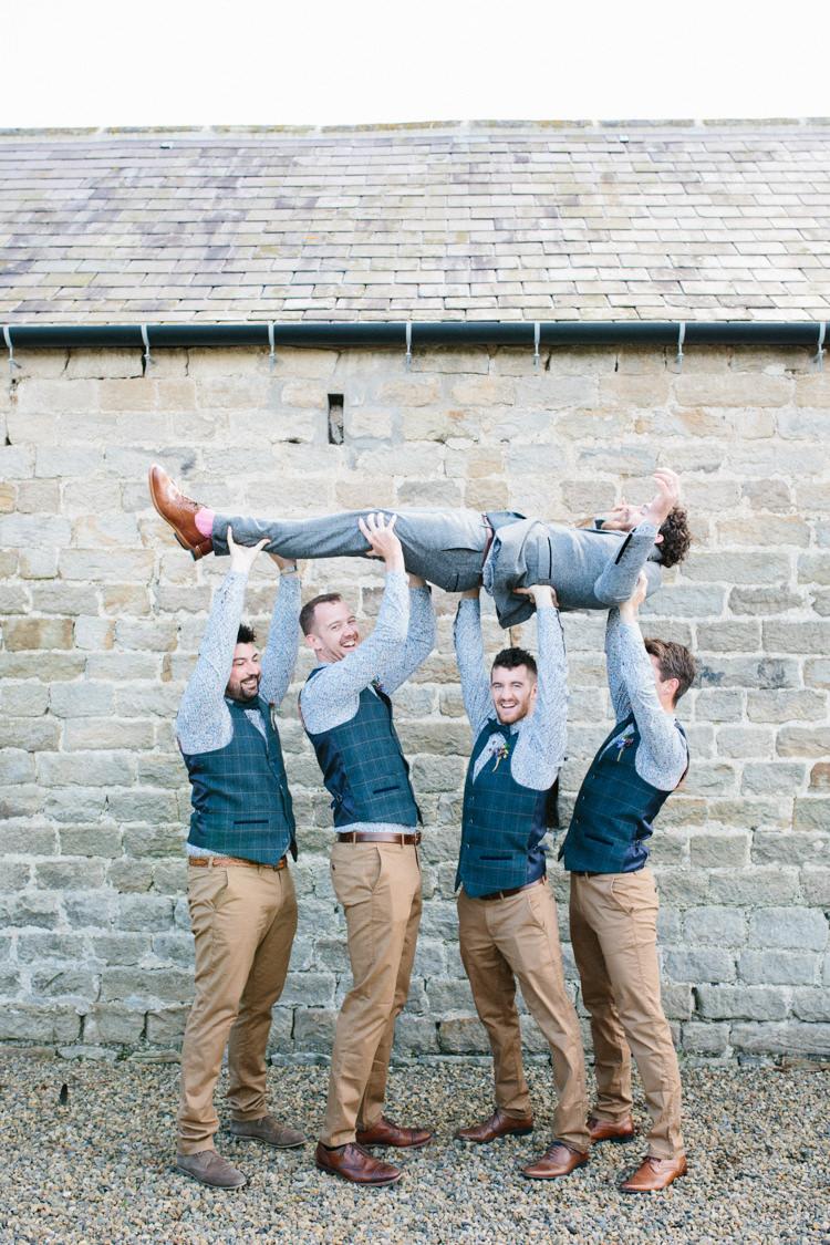 Groom Suit Grey Tweed Waistcoat Floral Shirt Bow Tie Groomsmen Trousers Chinos Fun Joyful Pink Blue Summer Healey Barn Wedding Northumberland http://www.melissabeattie.com/