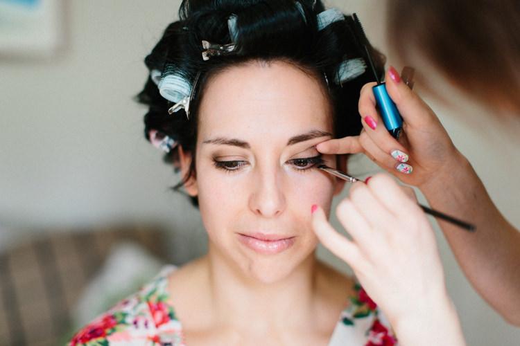 Bride Bridal Make Up Beauty Fun Joyful Pink Blue Summer Healey Barn Wedding Northumberland http://www.melissabeattie.com/