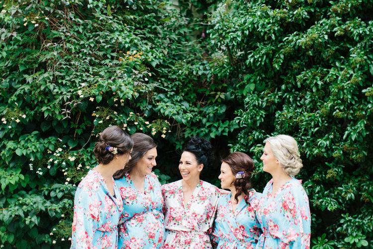 Bride Bridal Bridesmaids Robe Dressing Gown Floral Fun Joyful Pink Blue Summer Healey Barn Wedding Northumberland http://www.melissabeattie.com/