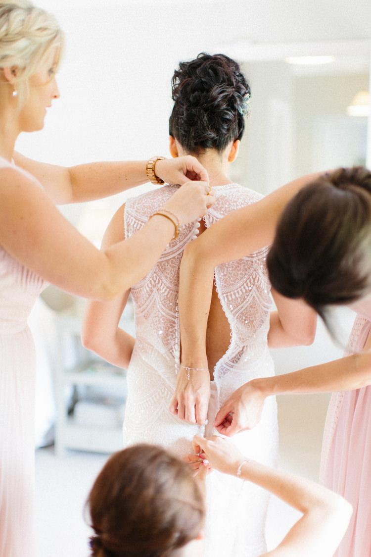 Lace Beaded Gown Back Buttons Bride Bridal Illusion Sheer Fun Joyful Pink Blue Summer Healey Barn Wedding Northumberland http://www.melissabeattie.com/