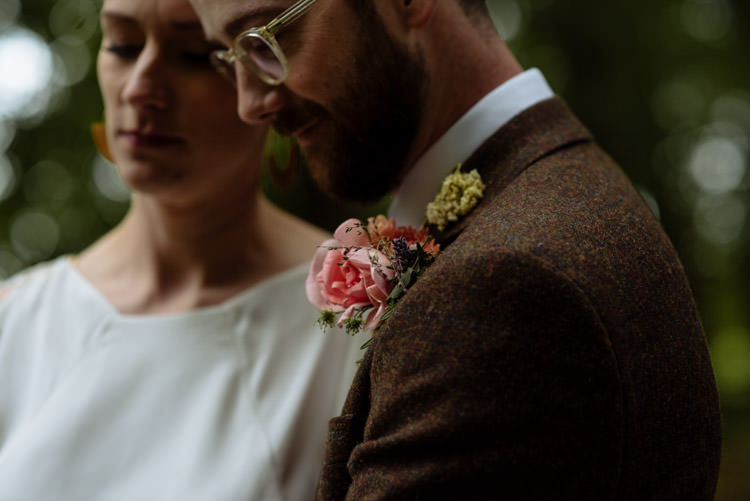 DIY Bride Groom Alternative Hippy Forest Farm Field Garden Wedding Tweed Brown Suit Pink Buttonhole | Homegrown Community Eclectic Rural Yorkshire Wedding https://toastofleeds.co.uk/