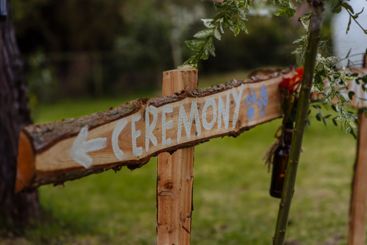 DIY Ceremony Sign Seasonal Alternative Hippy Farm Field Garden Wedding | Homegrown Community Eclectic Rural Yorkshire Wedding https://toastofleeds.co.uk/