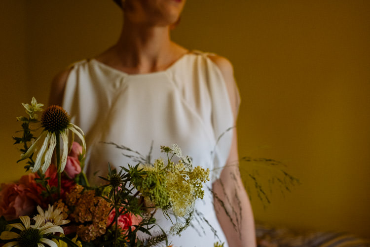 DIY Bride Seasonal Yellow Wildflower Bouquet Alternative Hippy Farm Field Garden Wedding | Homegrown Community Eclectic Rural Yorkshire Wedding https://toastofleeds.co.uk/
