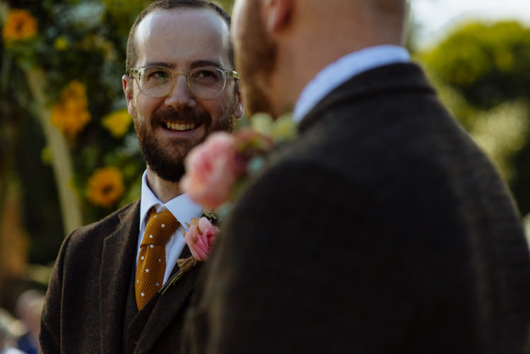 DIY Tweed Suit Groom Orange Tie Alternative Hippy Farm Field Garden Wedding | Homegrown Community Eclectic Rural Yorkshire Wedding https://toastofleeds.co.uk/