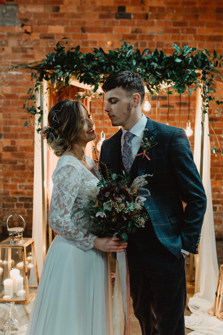 Industrial Violet Greenery Succulents Edison Lighting Wedding Ideas https://www.steviejayphotography.co.uk/