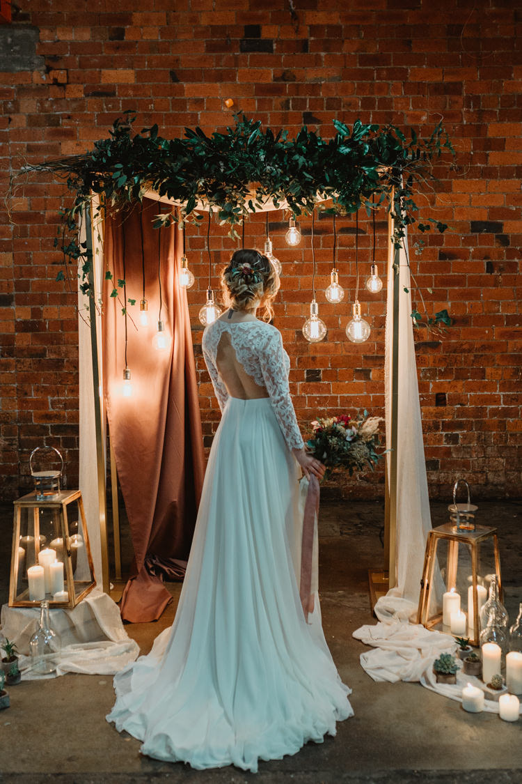 Bride Bridal Dress Gown Lace Sleeves Keyhole Back Industrial Violet Greenery Succulents Edison Lighting Wedding Ideas https://www.steviejayphotography.co.uk/