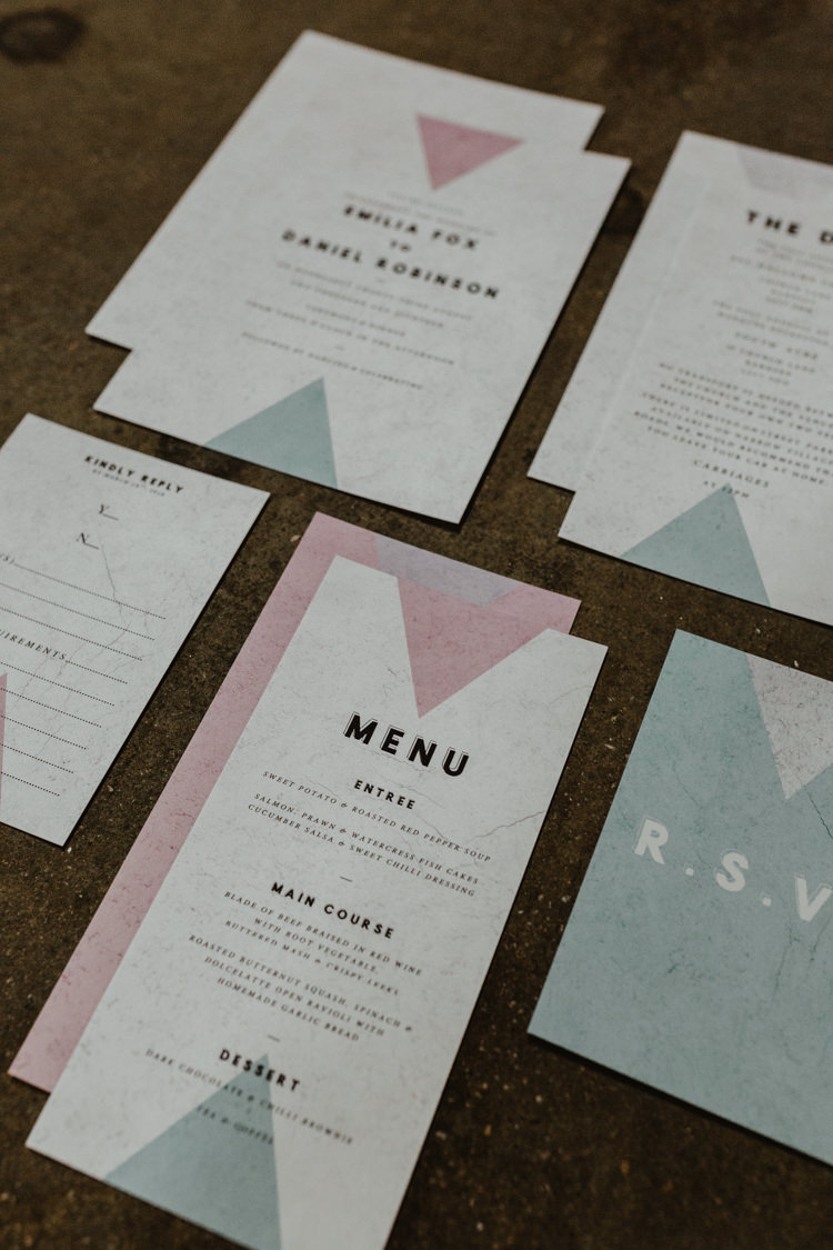 Stationery Invites Invitations Graphic Triangles Industrial Violet Greenery Succulents Edison Lighting Wedding Ideas https://www.steviejayphotography.co.uk/