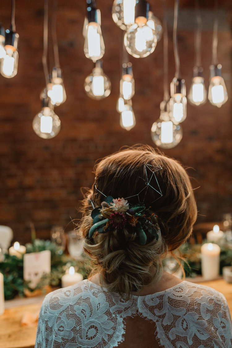 Hair Bride Bridal Up Do Style Rustic Flowers Industrial Violet Greenery Succulents Edison Lighting Wedding Ideas https://www.steviejayphotography.co.uk/