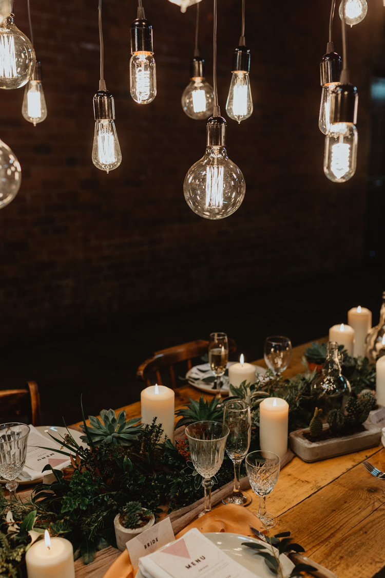 Tablescape Candles Decor Table Foliage Garland Swag Runner Industrial Violet Greenery Succulents Edison Lighting Wedding Ideas https://www.steviejayphotography.co.uk/