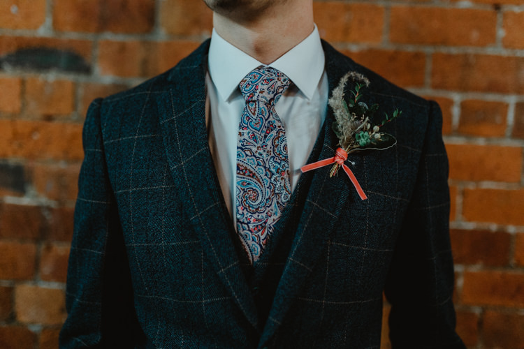 Groom Suit Outfit Style Paisley Tie Industrial Violet Greenery Succulents Edison Lighting Wedding Ideas https://www.steviejayphotography.co.uk/