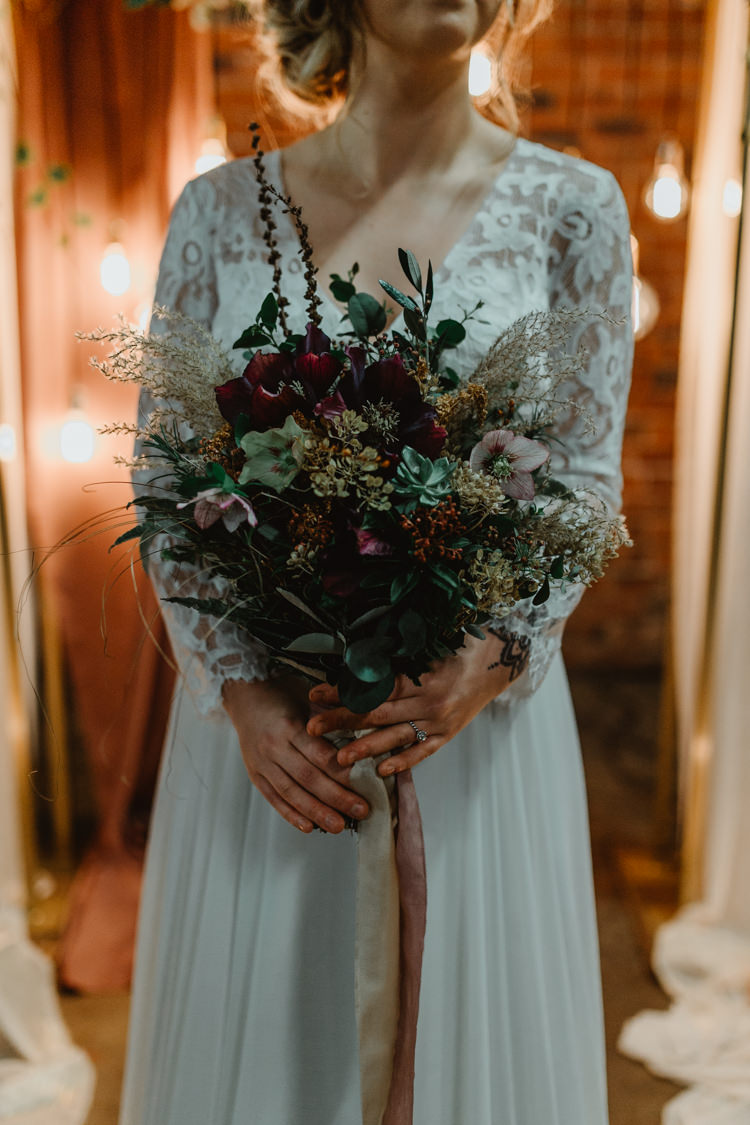 Bouquet Flowers Bride Bridal Ribbons Foliage Lilac Industrial Violet Greenery Succulents Edison Lighting Wedding Ideas https://www.steviejayphotography.co.uk/