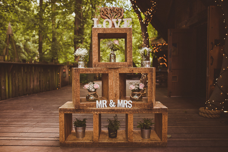 Wooden Boxes Crates Flowers Decor Rustic Relaxed Woodsy Alnwick Treehouse Northumberland Wedding http://www.mattpenberthy.com/