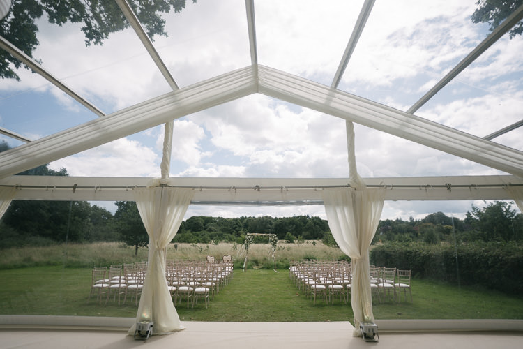 Clear Marquee Outdoor Ceremony Relaxed Bohemian Summer Meadow Wedding https://karibellamy.com/