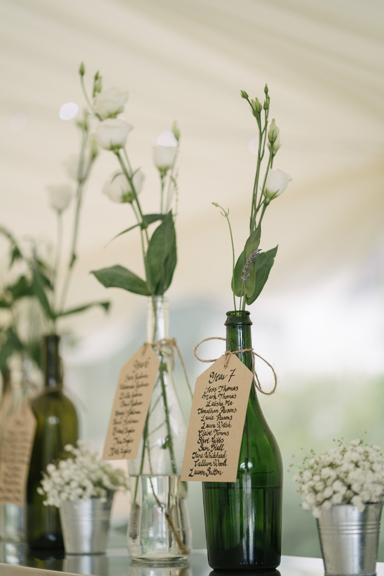 Table Plan Seating Chart Bottles Luggage Tag Label Floral Flower Calligraphy Relaxed Bohemian Summer Meadow Wedding https://karibellamy.com/