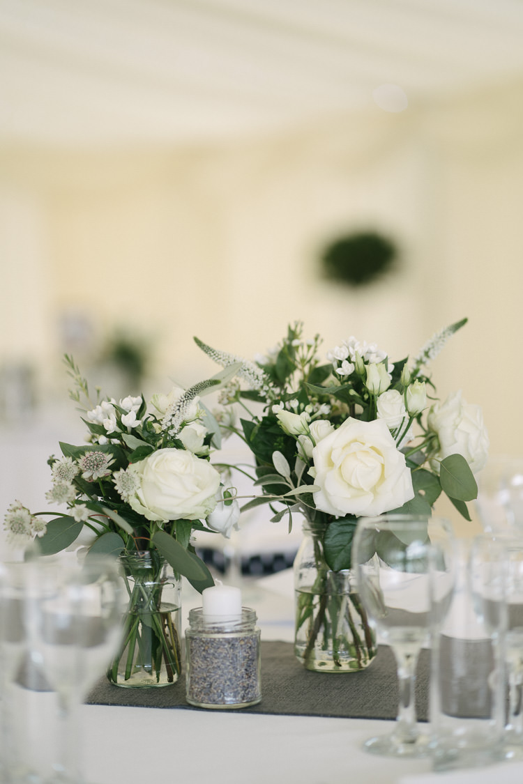 Table Centre Floral Flower Arrangement White Cream Rose Thistle Jam Jar Relaxed Bohemian Summer Meadow Wedding https://karibellamy.com/