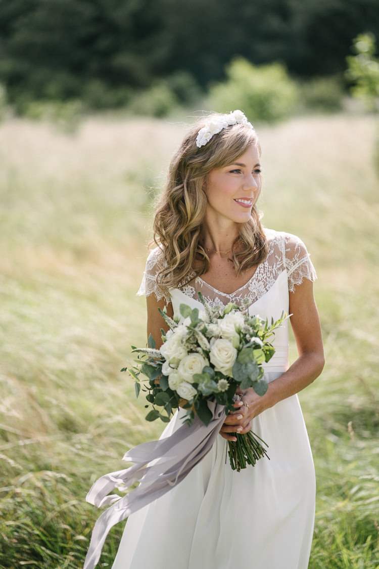 Rembo Styling Dress Bride Bridal Lace V Neck Floral Crown Bouquet White Cream Rose Flowers Eucalyptus Greenery Relaxed Bohemian Summer Meadow Wedding https://karibellamy.com/