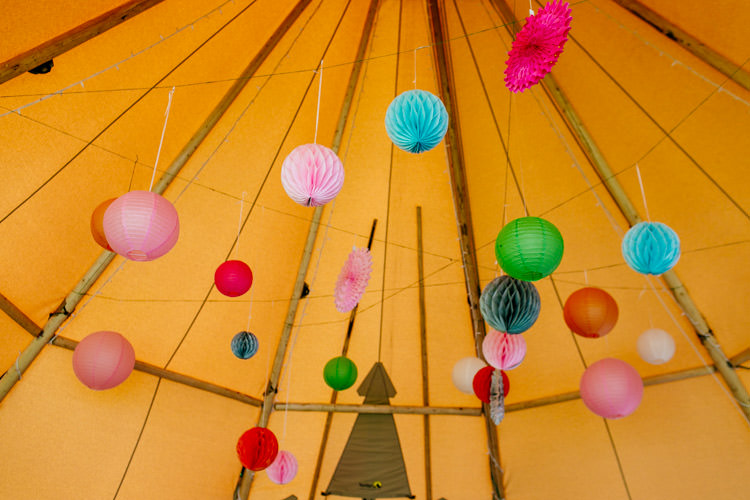 Honeycomb Lanterns Pinwheels Tipi Bright Fun Festival Boho Wedding The Party Field East Sussex http://epiclovestory.co.uk/