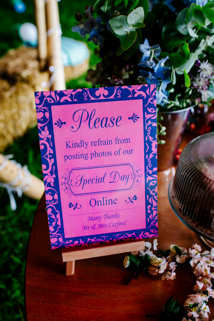 Social Media Sign Unplugged Bright Fun Festival Boho Wedding The Party Field East Sussex http://epiclovestory.co.uk/