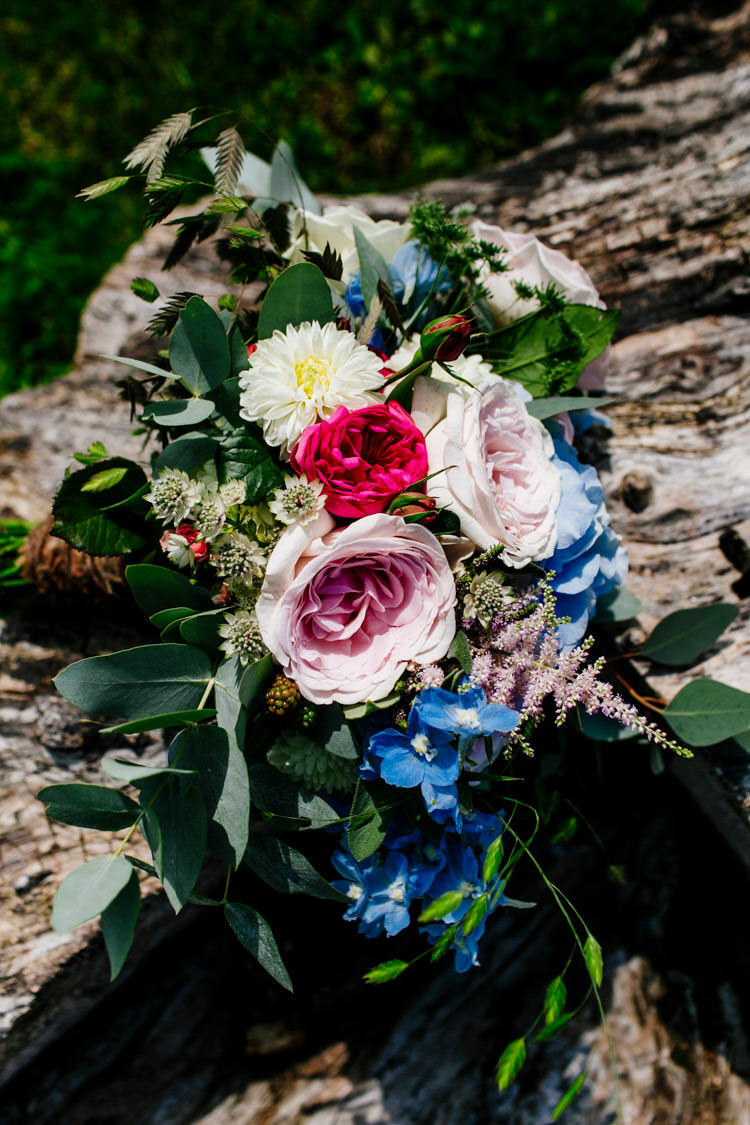 Bouquet Flowers Pink Rose Astilbe Eucalyptus Bright Fun Festival Boho Wedding The Party Field East Sussex http://epiclovestory.co.uk/