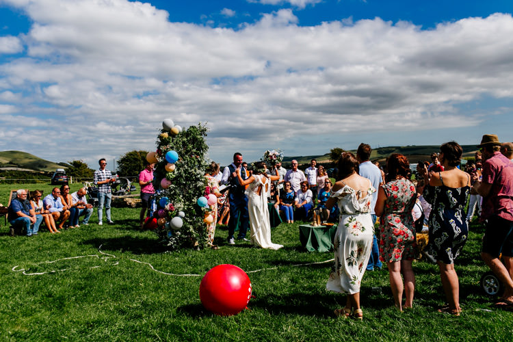 Outdoor UK Ceremony Humanist Bright Fun Festival Boho Wedding The Party Field East Sussex http://epiclovestory.co.uk/