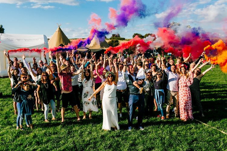 Smoke Bomb Group Shot Bright Fun Festival Boho Wedding The Party Field East Sussex http://epiclovestory.co.uk/