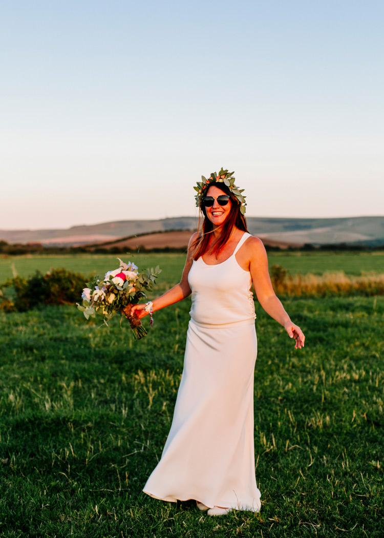 Laure de Sagazan Dress Gown Bride Bridal Flower Crown Bright Fun Festival Boho Wedding The Party Field East Sussex http://epiclovestory.co.uk/