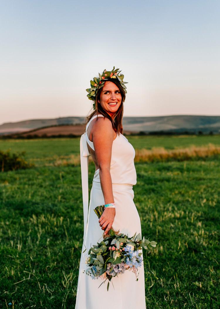 Flower Crown Laure de Sagazan Dress Gown Bride Bridal Bright Fun Festival Boho Wedding The Party Field East Sussex http://epiclovestory.co.uk/