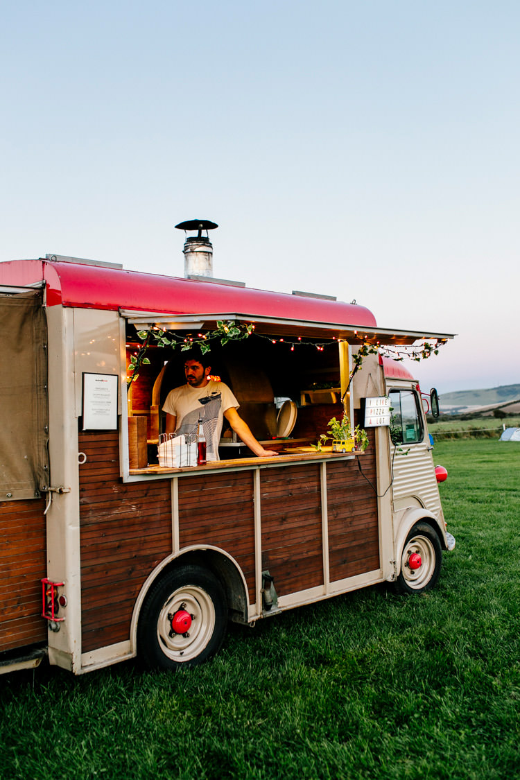 Food Truck Pizza Van Bright Fun Festival Boho Wedding The Party Field Kent http://epiclovestory.co.uk/