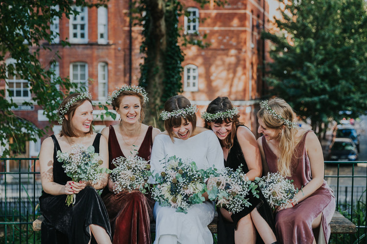 Bride Bridal Gypsophila Flower Crown Bouquet Greenery Multicolour Mismatched Velvet Dress V Neck Bridesmaids Chilled Out Individual Simple City Wedding Stoke Newington Town Hall London The Tab Centre http://www.kategrayphotography.com/