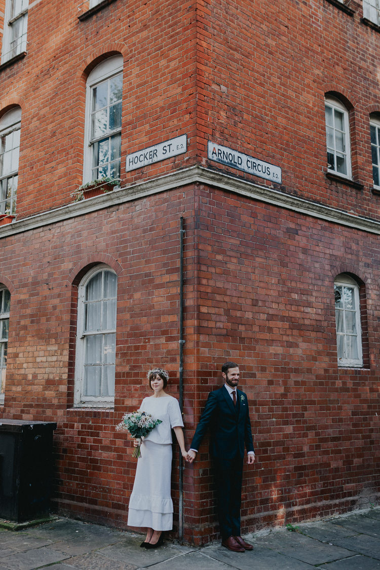 Bride Bridal Gypsophila Flower Crown Bouquet Greenery Two Piece Skirt Top Bespoke Groom Bottle Green Three Piece Waistcoat Orange Tie Chilled Out Individual Simple City Wedding Stoke Newington Town Hall London The Tab Centre http://www.kategrayphotography.com/