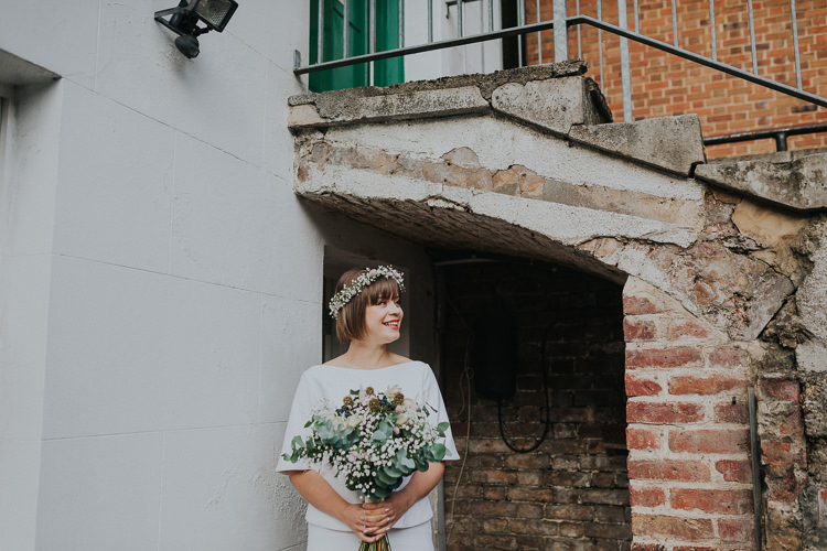 Bride Bridal Two Piece Skirt Top Gypsophila Flower Crown Bouquet Greenery Chilled Out Individual Simple City Wedding Stoke Newington Town Hall London The Tab Centre http://www.kategrayphotography.com/