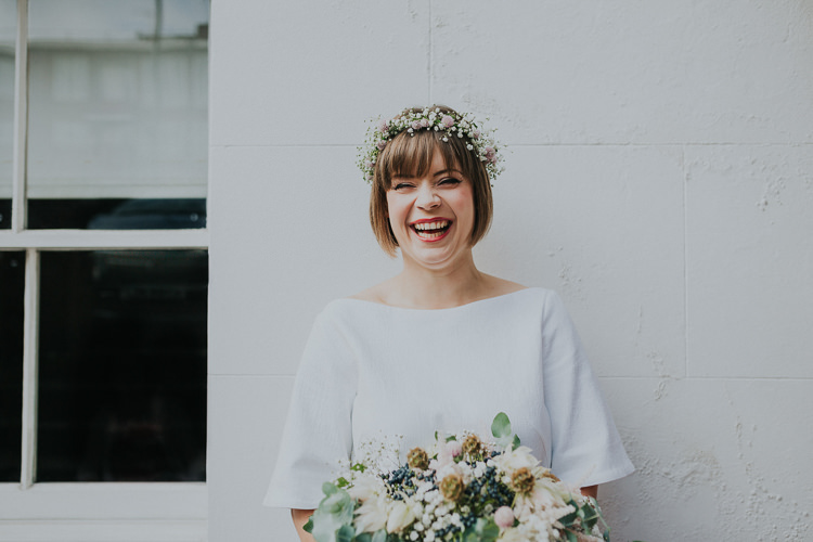 Bride Bridal Gypsophila Flower Crown Bouquet Greenery Chilled Out Individual Simple City Wedding Stoke Newington Town Hall London The Tab Centre http://www.kategrayphotography.com/