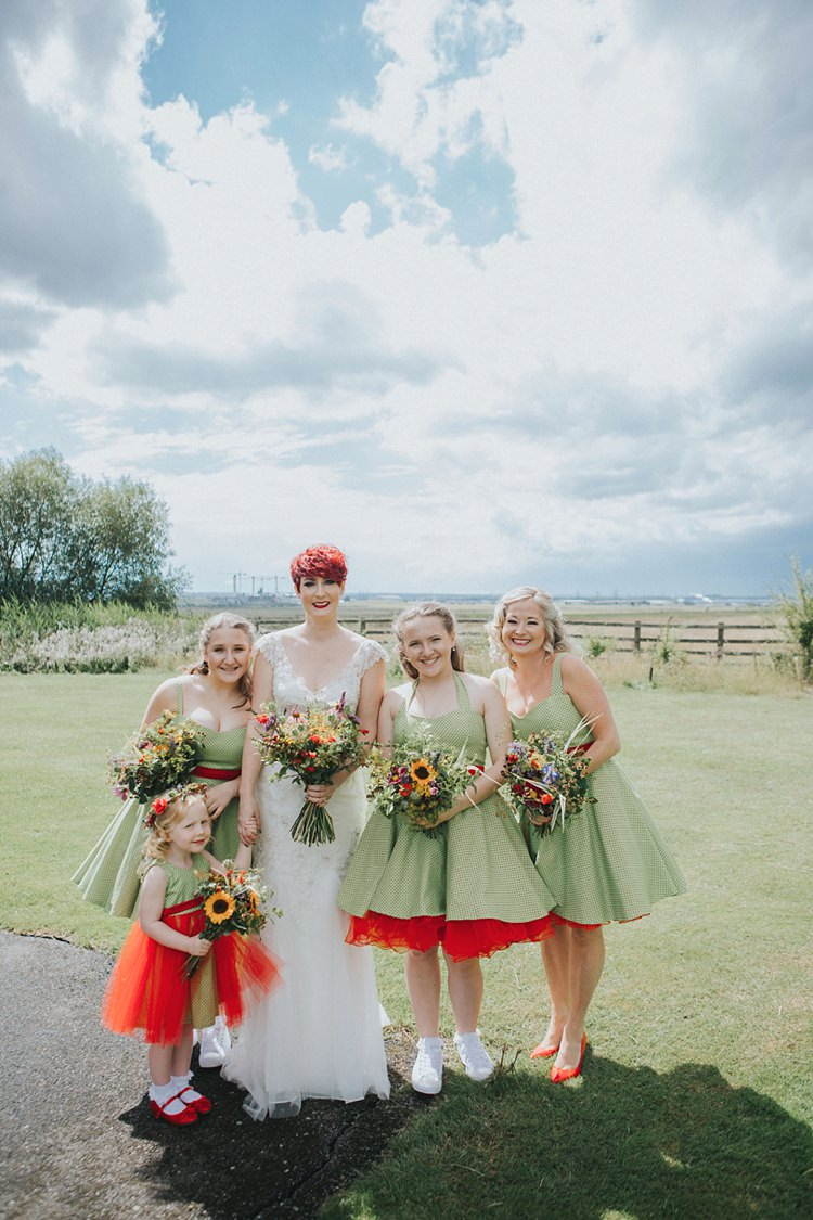 Bride Bridal Maggie Sottero Ivory over Gold V Neck Lace Bridesmaids Green 50s Tulle Halterneck Red Bouquets Colourful Informal Wedding Victorian Fairground Games Elmley Nature Reserve Kent http://www.juliaandyou.com/