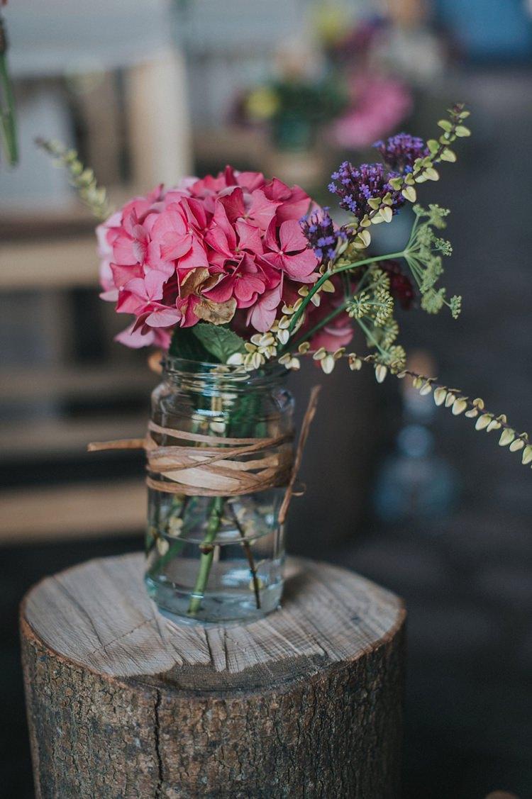 Jar Raffia Hydrangea Flowers Wood Slice Log Colourful Informal Wedding Victorian Fairground Games Elmley Nature Reserve Kent http://www.juliaandyou.com/