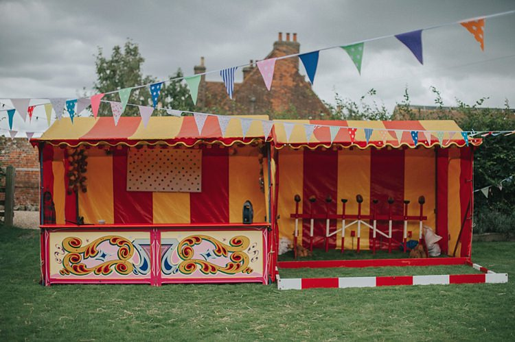 Fairground Game Attraction Coconut Shy Colourful Informal Wedding Victorian Fairground Games Elmley Nature Reserve Kent http://www.juliaandyou.com/