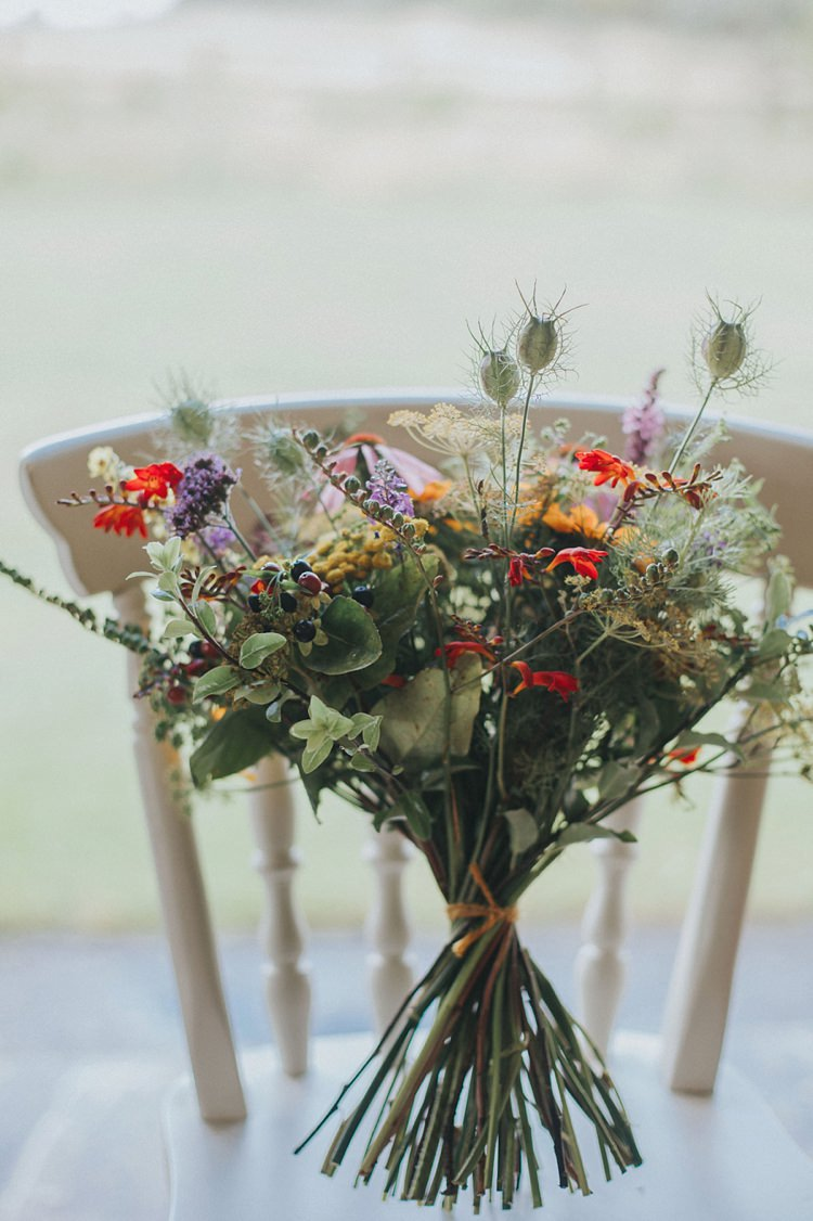 Bouquet Wildflower Multicoloured Flowers Floral Thistle Colourful Informal Wedding Victorian Fairground Games Elmley Nature Reserve Kent http://www.juliaandyou.com/