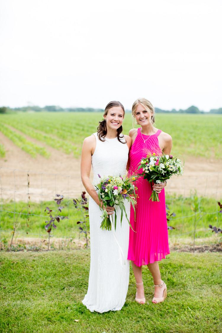 Pink Bridesmaid Dress Modern Simple Colourful Garden Wedding http://www.helencawte.com/