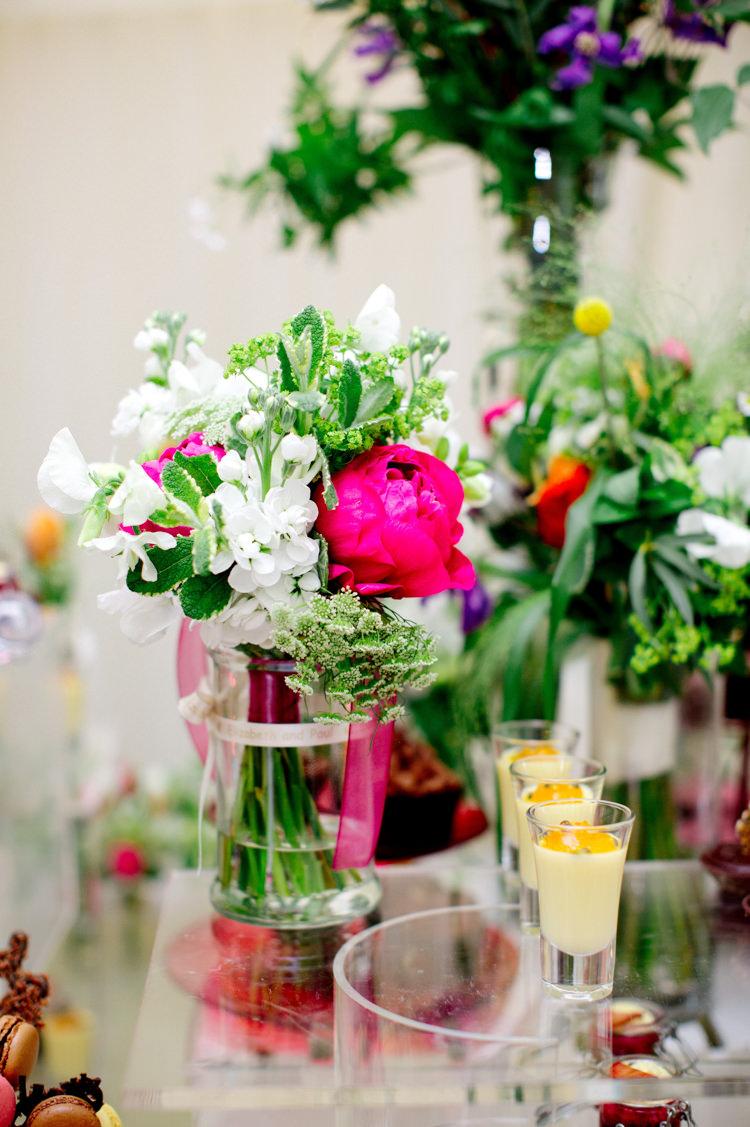Dessert Table Treats Pudding Macarons Flowers Modern Simple Colourful Garden Wedding http://www.helencawte.com/