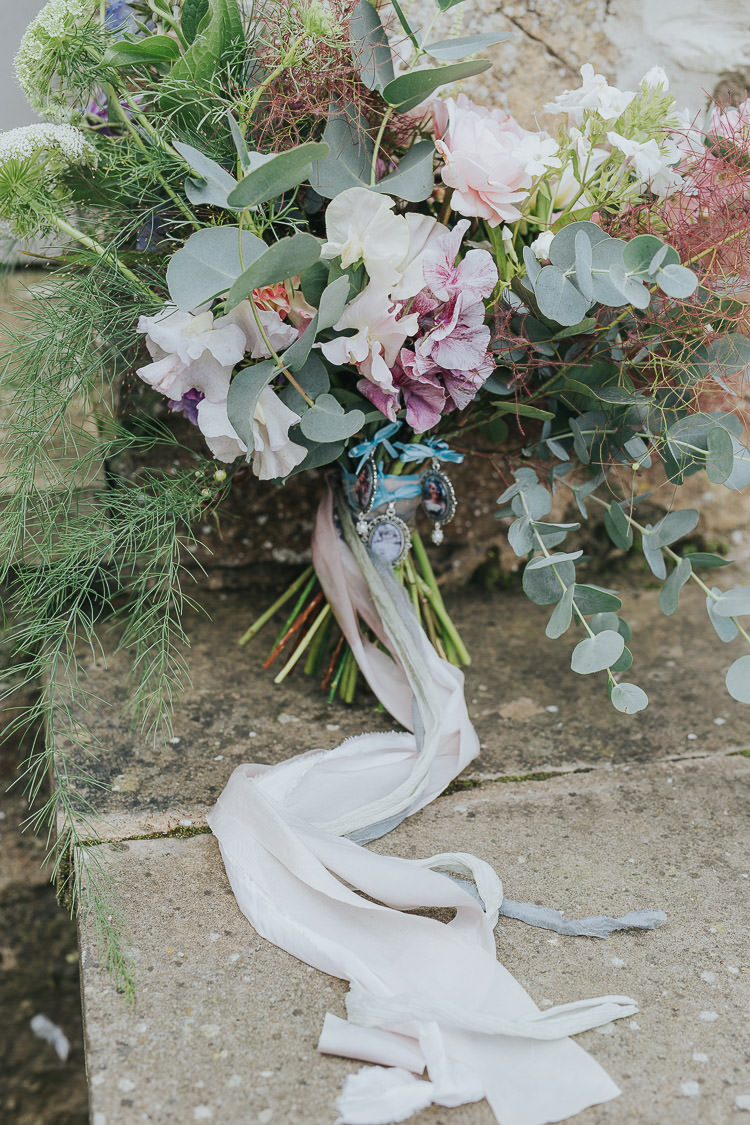 Bouquet Bride Bridal Pink Rose Nigella Stocks Flowers Pastel Ribbon Silk Sweet Pea Non-Traditional Country Party Barn Wedding Yorkshire http://www.lauracalderwood.co.uk/