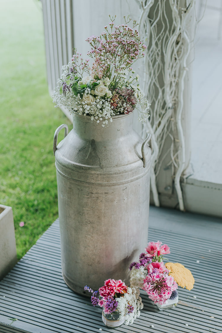 Milk Churn Flowers Ceremony Decor Non-Traditional Country Party Barn Wedding Yorkshire http://www.lauracalderwood.co.uk/