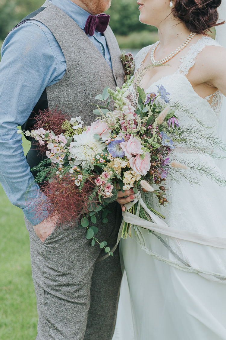 Bouquet Bride Bridal Pink Rose Nigella Stocks Flowers Pastel Ribbon Silk Non-Traditional Country Party Barn Wedding Yorkshire http://www.lauracalderwood.co.uk/