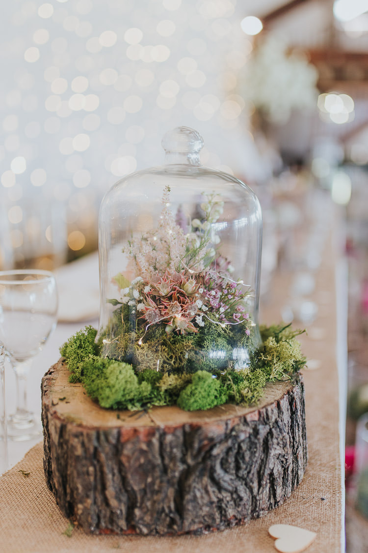 Terrerium Bell Jar Flowers Log Stump Centrepiece Non-Traditional Country Party Barn Wedding Yorkshire http://www.lauracalderwood.co.uk/