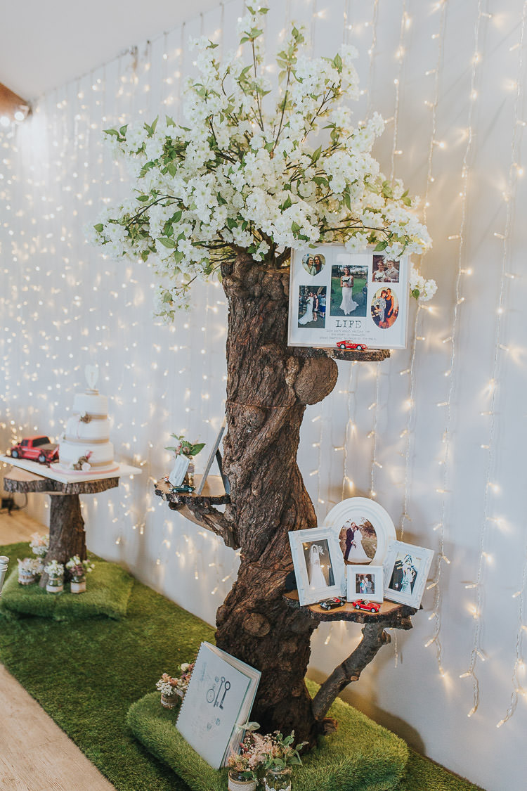 Fairy Lights Curtain Decor Family Tree Photos Non-Traditional Country Party Barn Wedding Yorkshire http://www.lauracalderwood.co.uk/