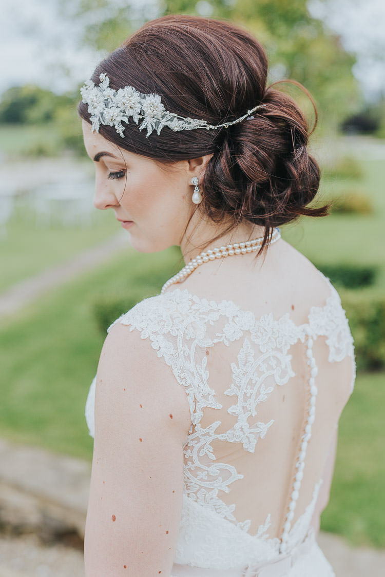 Illusion Lace Dress Gown Bride Bridal Up Do Hair Style Non-Traditional Country Party Barn Wedding Yorkshire http://www.lauracalderwood.co.uk/